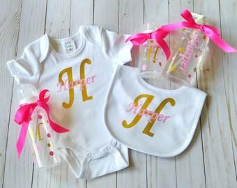 New baby gift set - baby girl gift - baby shower gift - personalized baby gift - custom baby gift - baby gift for girl - new baby girl gift