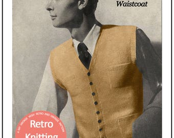 1950's Country Gentleman's Waistcoat Knitting Pattern  - PDF Instant Download