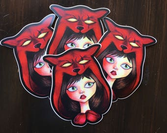 Red Riding Hood Sticker Vinyl and Weatherproof