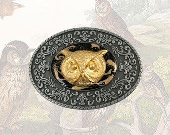 Oval Belt Buckle Victorian Owl Inlaid in Hand Painted Enamel Onyx Black with Gold Swirl Intricate Brocade Etchings with Colors Option
