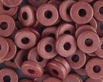 Greek Ceramic 8mm Disk Beads 16059 Chocolate Brown Disc Beads, Narrow Beads, Spacer Beads, Large Hole Beads, Big Hole Beads, Ceramic Beads