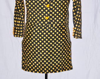 DAVID HAYES 100% Silk 2-piece Polka Dot Skirt Suit