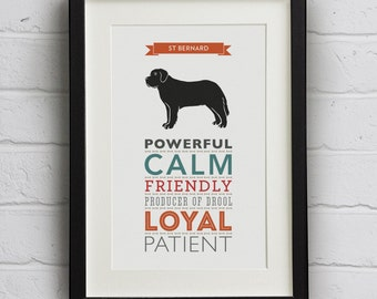 St Bernard Dog Breed Traits Print - Gift for St Bernard Lovers