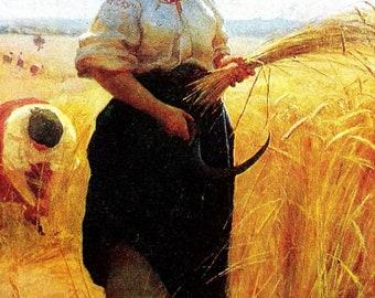 "Soviet Postcard - Artist M. Pimonenko ""Reaper"", 1950-60ss"