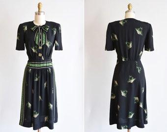 RARE 1940s Mystery Woman dress/ RARE 40s novelty face print/ Georgiana frocks rayon dress