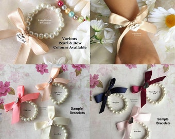 Flower Girl Bracelet-Flower Girl Gift-Girl Bracelet-Flower Girl Jewelry-Girl Bow Bracelet-Junior Bridesmaid-Glass Pearl Bow Girl Bracelet