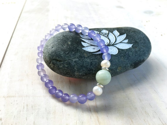 Purple Quartz and Amazonite Bracelet, Freshwater Pearl Jewelry, Boho Chic Bracelet, Mala Inspired Jewelry, Yoga Jewelry, Healing Stones