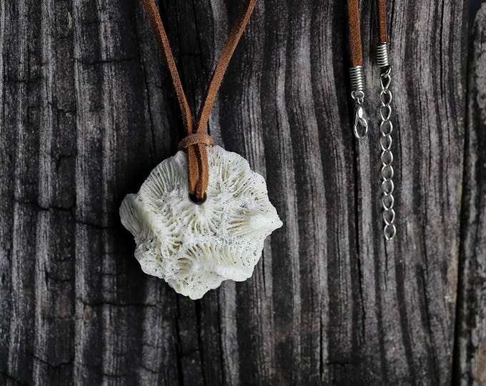 Boho Jewelry Coral Pendant Leather Chain Necklace by VERO for SeaStyle