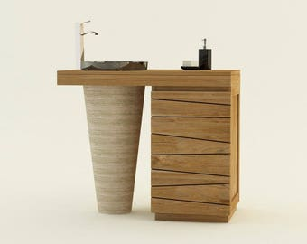 Furniture teak bathroom TIMARE marble Bowl - 100cm