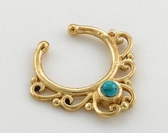 Septum clip. fake septum ring. septum cuff. septum ring. turquoise septum ring. tribal septum. faux septum. fake septum piercing.