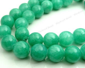 8mm Sea Green Mashan Jade Round Gemstone Beads - 16 Inch Strand - BG13
