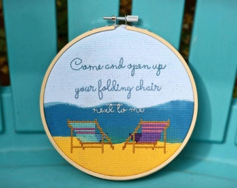 Come and Open Up Your Folding Chair Next to Me - completed cross stitch, Regina Spektor Lyrics