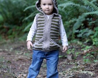 Crochet vest pattern, crochet childrens vest, boys vest, girls vest, hooded vest for children, crochet, easy pattern, zipper or button