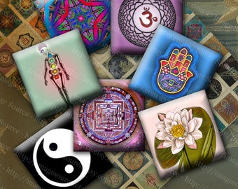 Chakra Pendant Images Digital Collage Sheet, Yoga Inchies, Square Pendant Images, Instant Download