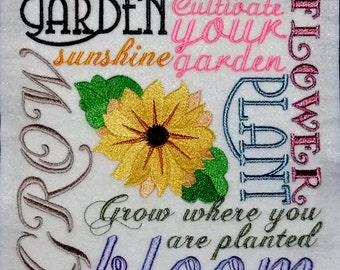 Gardening Tapestry (embroidered wall art)