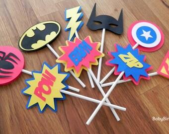 Die Cut Super Hero Cupcake Toppers superhero batman captain