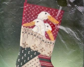 Vintage Bucilla Festive Geese Quilt Christmas Needlepoint Stocking Kit 60662