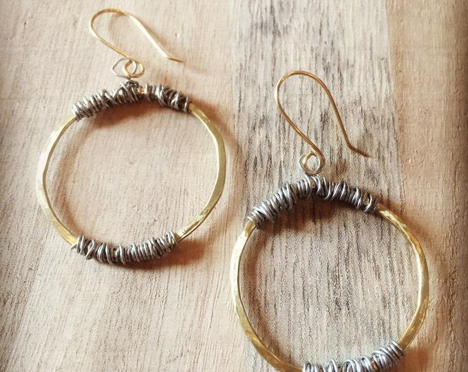 Wire Wrapped Hammered Hoop Earrings, Gold Hoop Earrings, Wire wrapped Earrings, Hoop Earrings