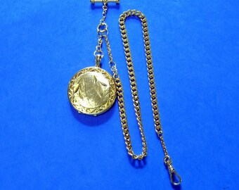 """Watch Chain Necklace 1-1/2"""" Locket Fob Filigree Etched Bamboo Leaf Design Curb Chain T-Bar Vintage"""
