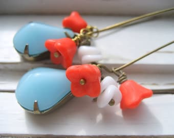 Tangelo drop earrings, long dangles, vintage cabs, Czech flowers, brass kidney ear wires