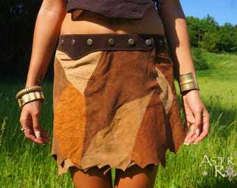 Earthy Patchwork Suede Mini Skirt