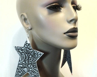 Denim Star Fabric Earrings Embellished a Design, Large Fabric Earrings, Women Earrings, Large Earrings, Big Earrings