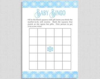 Blue Snowflake Baby Bingo Game, Blue & Gray Winter Baby Game, Baby Boy, INSTANT PRINTABLE
