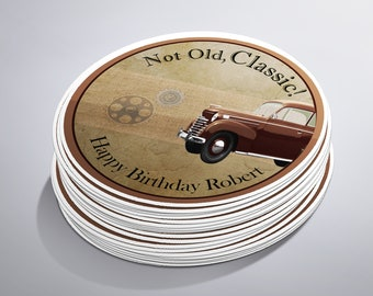 Men's Birthday, Classic Car, Birthday Stickers, Father's Day, Male Birthday, Classic Car Birthday, Vintage Car Birthday, Car Birthday, Cars