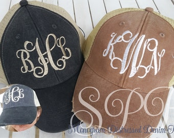 Monogram Distressed Denim Cap a very cute trucker style Hat