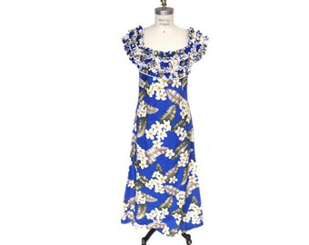 Hawaiian Muumuu dress with Ruffled Neck and Floral Print - Blue