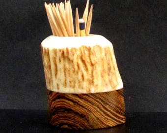 Nice Elk Antler Toothpick Holder, Match Stick Holder, Bocote Wood Base, TP-47