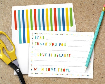 Printable Kid Thank You Card with Envelope Liner