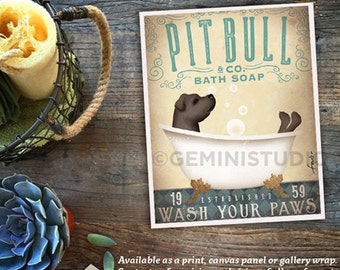 Pitbull pit bull dog bath soap Company vintage style artwork by Stephen Fowler Giclee Signed Print