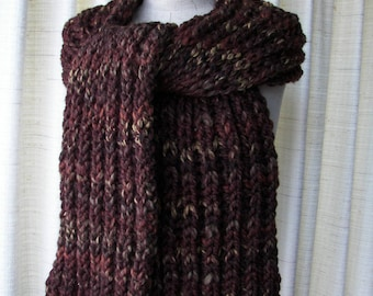 HAND Knit Super WARM Soft Long Scarf in BROWN Acrylic Lamb Wool / Brioche knit scarf / Ready to ship