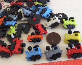 SET of 20 Assortment of Colored Train Shanked Buttons Craft knitting Embellishment