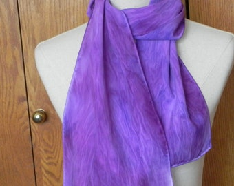 Oblong silk scarf hand dyed in shades of purple and violet, crepe de chine scarf # 581 ready to ship