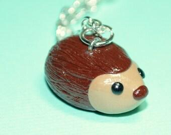 Kawaii Hedgehog Miniature Forest Animal Necklace Woodland Polymer Clay Jewelry