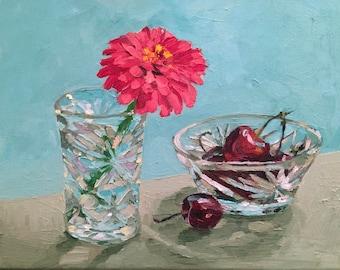 Zinnia and Cherries