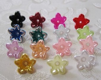 Tiny Pearl Lucite Acrylic Star Flower Beads Choose Colors 10mm 406