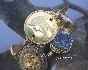King Tut/Cleopatra Coin Wire Wrap Bangles