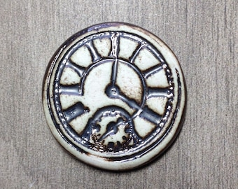 Olden Clock Ceramic Cabochon in Pewter and Bone White