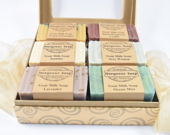 Gift Box Set Goat Milk Soap Gift Basket, Goats Milk Soap Sets, Goat Milk Soaps Gift Baskets, Gift For Women, Her, Mom, Girlfriend, Wedding