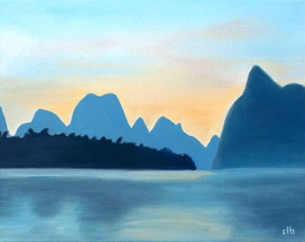 China Painting, 14 x 11, Oil Painting, Original Art, Guilin Landscape Painting, Sunset Painting, Li River Painting, Chinese Wall Art