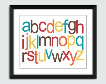 Lowercase Alphabet ABC Horizontal Wall Art. Alphabet Wall Print. 8x10 Baby Children Nursery Wall Print Poster