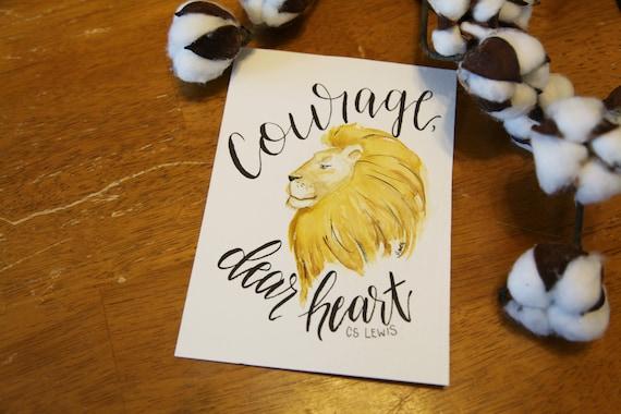 Courage Dear Heart Lion Nursery Art Chronicles of Narnia