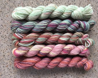 Ze Grindylows Mini Sock Yarn Skeins - 25 yard miniskeins, set of 5 Harry Potter themed hand dyed minis