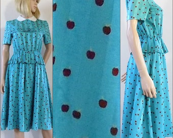 Turquoise blue apples print dress vintage French pretty cute midi dress small - check measurements