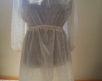 Ladies Long cream lace shirt or dress size S
