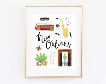 New Orleans Art Print, Illustrated New Orleans Decor, New Orleans Gift, New Orleans Wall Art