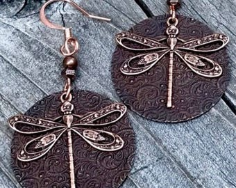 Dragonfly earrings, dragonfly jewelry, vintage brass dragonfly earrings